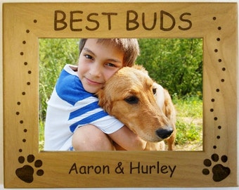 """Personalized """"Best Buds"""" Dog Photo Frame - choose from 3 sizes."""