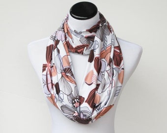 Infinity scarf bohemian soft jersey knit scarf circle scarf loop scarf pink cocoa flowers snood scarf - boho scarf gift idea for her