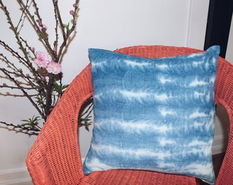 Hand dyed Shibori linen pillow case