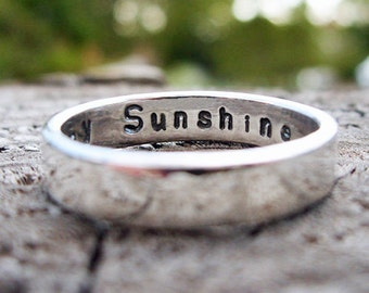 5mm Sterling Silver Band with Choice of Hammered, Satin, Polished, or Antiqued Finish - Personalized Inscription Commitment / Wedding Ring