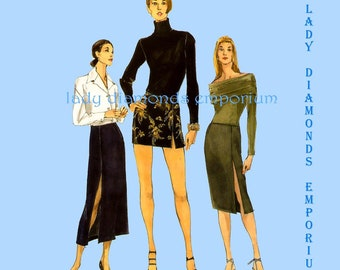 Vogue Easy Options 9798 Womens Sexy French Slit Skirt size 6 8 10 12 Wiggle Skirt Straight A-line Micro Mini Vintage Sewing Pattern Uncut FF