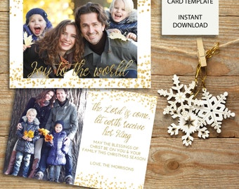 Joy to the World - Glitter Confetti Christmas Card - 7x5 Photoshop Template - INSTANT DOWNLOAD