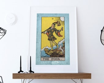 Tarot Print The Fool Retro Illustration Art Rider Print Vintage Giclee on Cotton Canvas or Paper Canvas Poster Wall Decor