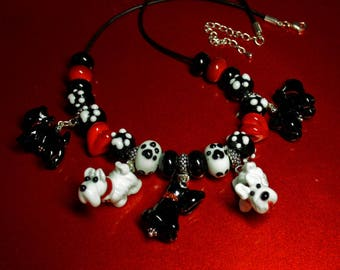 Lampwork necklace  with murano dogs,  glass necklace, artisan glass necklace, leather necklace, doglover neckalce, dog necklace