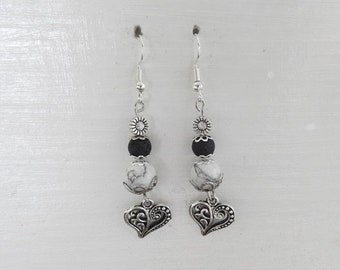Howlite and lava stone earrings