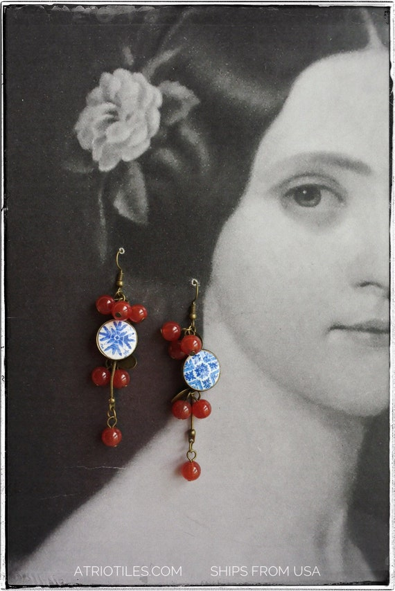 Earrings Cherries Tile Waterfall Portugal Blue Antique Azulejo Tile - Ovar (see photo)  - Delicate Feminine  Gift Box Included