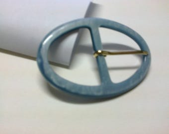 Grey oval buckle blue plastic passage 3.7 cm * BO78 *.
