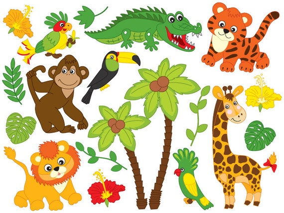 jungle animals clipart digital vector safari animals lion rh etsy com safari animals clipart free safari animals clipart black and white