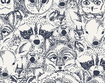 INDIAN SUMMER Menagerie in Onyx, Sarah Watson, Art Gallery Fabrics, By the Yard, Woodland Creatures, Woodland Baby Quilt Fabric, Raccoon
