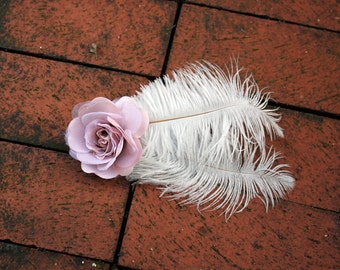 Pink and White Rose Fascinator - Alligator Clip - Pink Rose and White Ostrich Feather- Bridal Hair Clip
