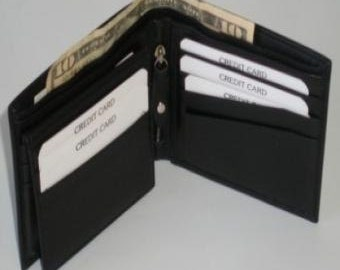Leather bifold wallet with removable card case
