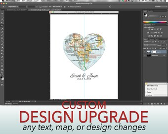 DESIGN UPGRADE- Add Additional Text Lines, Names, Dates, Fonts or Custom Colors to any of our maps! Super Customized!