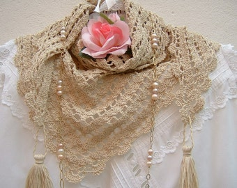 Crochet Lace Scarf-handmade shoulder cover in ecru cotton-scarf with tassels-ethnic style-women's fashion crochet