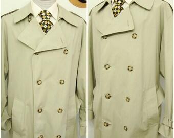 Classic Vintage Men's Cotton Blend Overcoat Dress Coat Guilford Green Trench Coat Long Vintage Over Coat Size 42 - 44 / Large / L