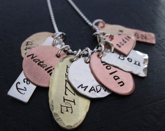 Mother's Day Gift for Grandma - The Family Collection Necklace - handstamped necklace - grandmothers necklace - Personalized Gift for Nana