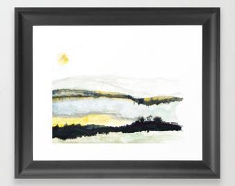 The upside down. Watercolor. Print. Abstract Landscape