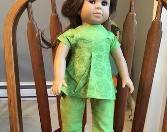 """Camisole with shirt and capris fit 18""""dolls such as American girl"""