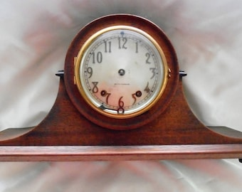 antique mantle clock Seth Thomas mahogany needs work glass brass wood