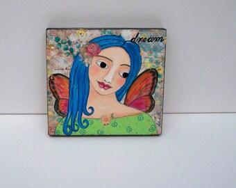 "Folk Art Angel Fairy Painting Original Encaustic ""Dream"""