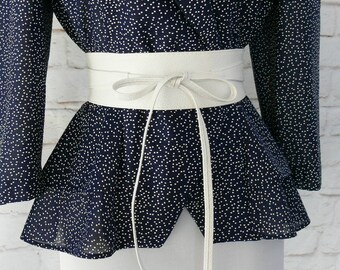 "Vintage 90s White Faux Leather Obi Sash Wrap Wide Belt Tie One Size XS S M L 22-32"""