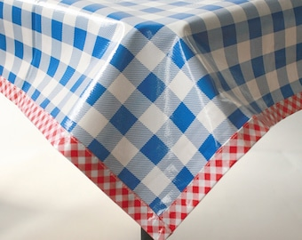 Rectangle Large Gingham Blue Oilcloth Tablecloth with Red Gingham Trim
