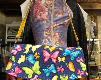 Glenda clutch with attachable strap swoon butterfly madness 11 wide 7 tall