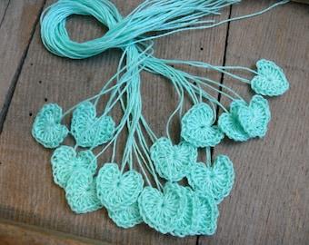 Small wedding favors, crochet tiny mint hearts, 15 mini hearts, wedding decorations, embellishments, applique, teal blue hearts,scrapbooking