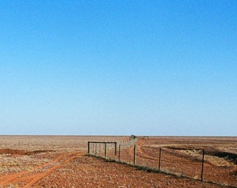 Australia, Blue Sky, Landscape Photography, Australian Outback, Desert Horizon in Blue and Copper
