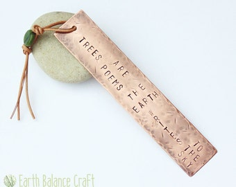 Trees are Poems Copper Bookmark, Book Lover Gift, Gifts for Men, Rustic Bookmark, Boyfriend Gift, Hand Stamped Copper, Gifts for Book Worms