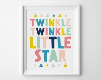 Twinkle Twinkle Little Star, Kids Room Decor, Nursery Wall Art, Nursery Quotes, Baby Decor, Nursery Prints, Art For Nursery, Baby Nursery