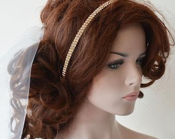 Wedding Headband, Wedding hair Accessories, Bridal Gold Rhinestone Headband, Bridal hair Accessories