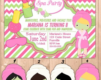 Spa Party Invitation Printable, Personalized Spa Party Invitation Girl Kids and Adults, Free Thank You Note