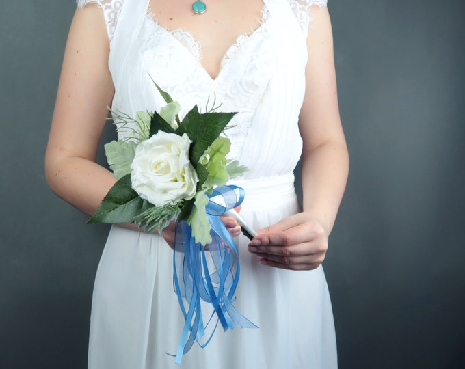 White rose flower girl wand Pastel blue white silk flower bouquet greenery Best quality dusty miller southwestern wedding