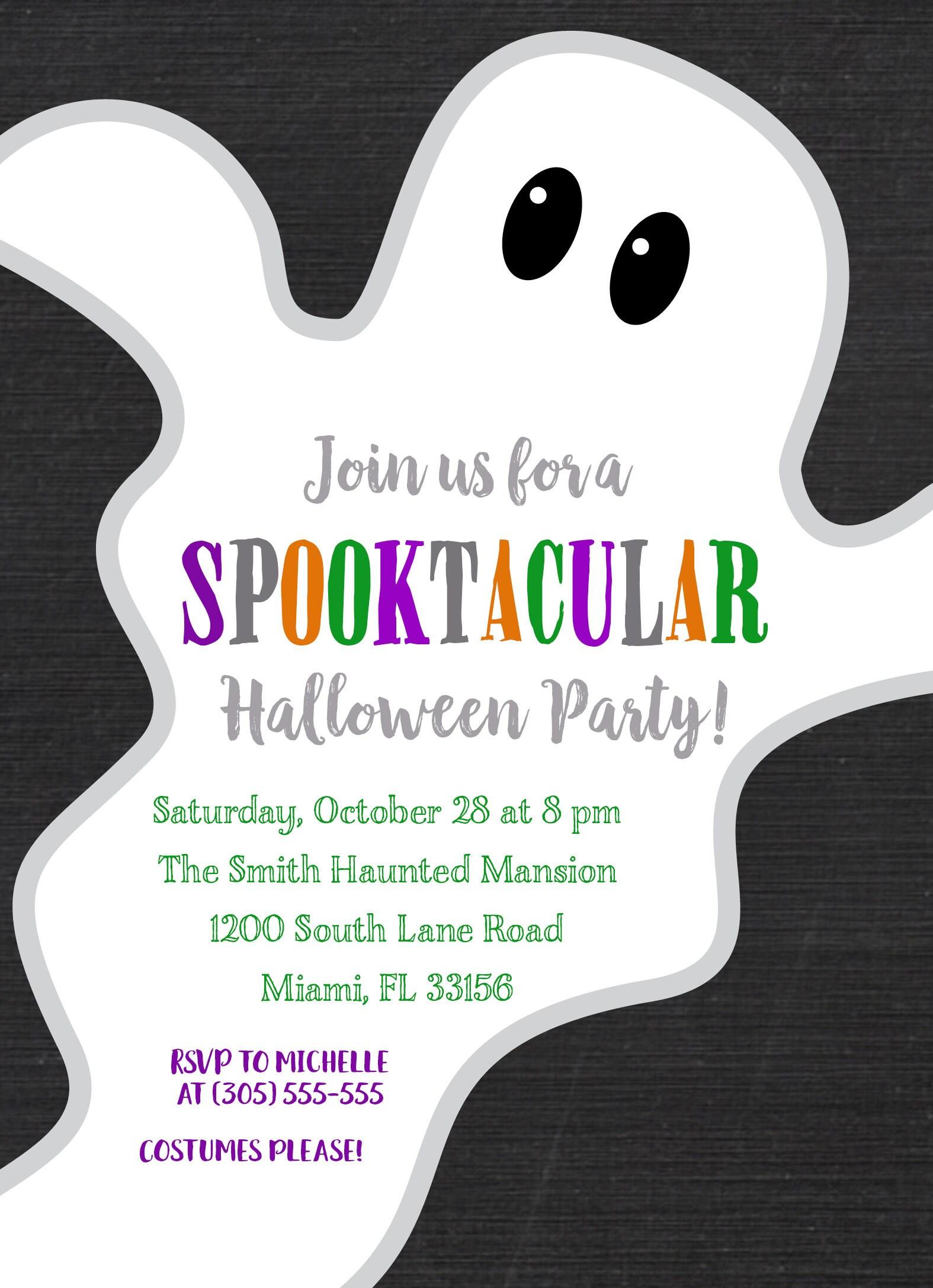 Ghost Halloween Party Invitation, Ghost Halloween Invitation ...