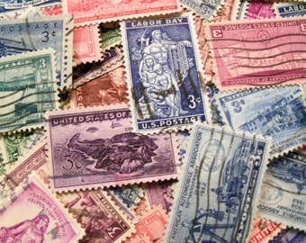 40 Vintage Postage Stamps, Pastel Stamps, Postage Stamps, Bulk Stamps, Craft Stamps
