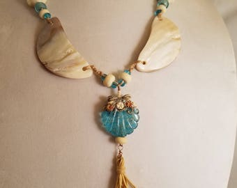 Beach shells and baubles necklace