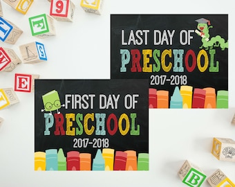 First Day of Preschool Sign - My First Day Back To School - Back 2 School Printable - Last Day of School - First Day Pre-K PRINTABLE 8x10