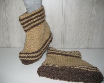 two-tone brown/beige men wool slippers