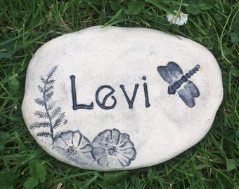 Pet memorial stone, Custom burial grave marker. Pet remembrance. Engraved stone with Pets name, Dragonfly, flowers.