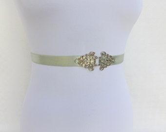 Mint green elastic waist belt. Silver filigree belt. Dress belt. Stretch belt. Bridal belt. Bridesmaids belt.