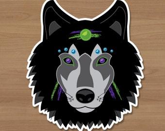 Neon Wolf Sticker