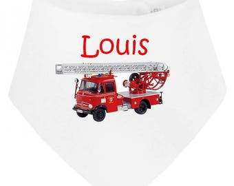 Fire truck personalized with name baby bandana bib