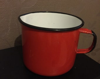 Large red enamel ware mug made in Poland vintage
