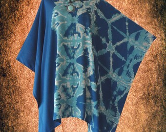 Tradition Shibori Bleach Hand dyed Poncho Cover Up Top blouse