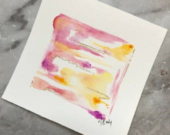 Mini Original Watercolor - Abstraction in Pink and Orange 5x5 inches
