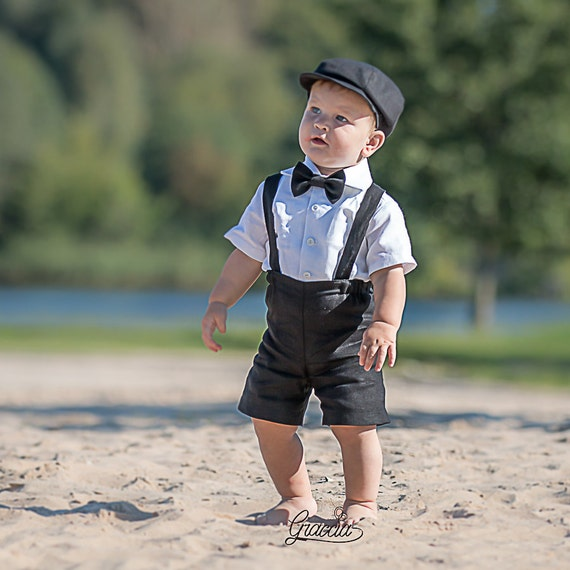 Ring bearer newsboy outfit Baby boy linen suit Wedding party