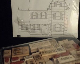 RARE & COMPLETE, Unused - Stampin' Up 1994 Dollhouse Stamp Set, Complete with Sealed Original Stampin' Up Dollhouse Illustrated Paper Book