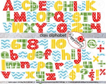 Class Alphabet and Numbers: Clip Art Pack (300 dpi transparent png) Card Making Digital Scrapbook Letters Black & White