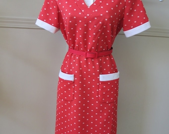 Vintage Red with White Polka Dots Dress Polyester Double Knit Belted Detachable Collar