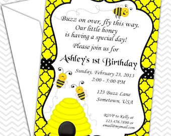 Bumble Bee Invitations PRINTABLE - Birthday Party - Baby Shower